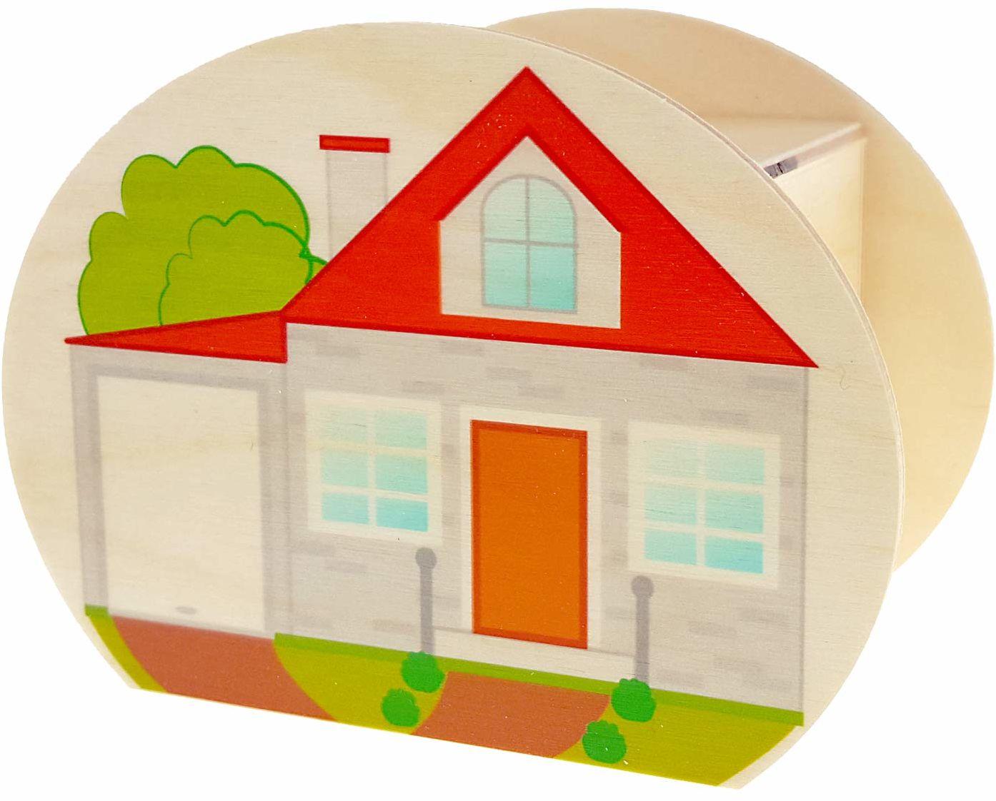 Hess drewniana zabawka 15213 - skarbonka z drewna, z kluczem, dom, prezent na parapetówkę, do budowy domu lub na święta, ok. 11,5 x 8,5 x 6,5 cm