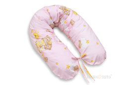 MAMO-TATO Poszewka na poduszkę dla kobiet w ciąży Drabinki z misiami na różowym tle