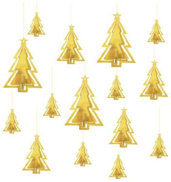 Dekoracja wisząca choinki złote 3D 15 sztuk 110356