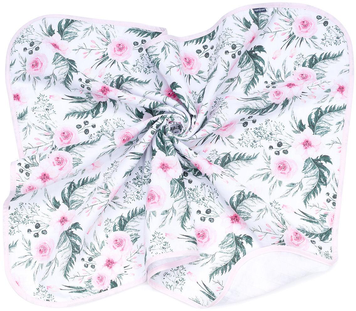 MAMO-TATO Kocyk muślinowy dla dzieci i niemowląt dwuwarstwowy - Różany ogród / biały