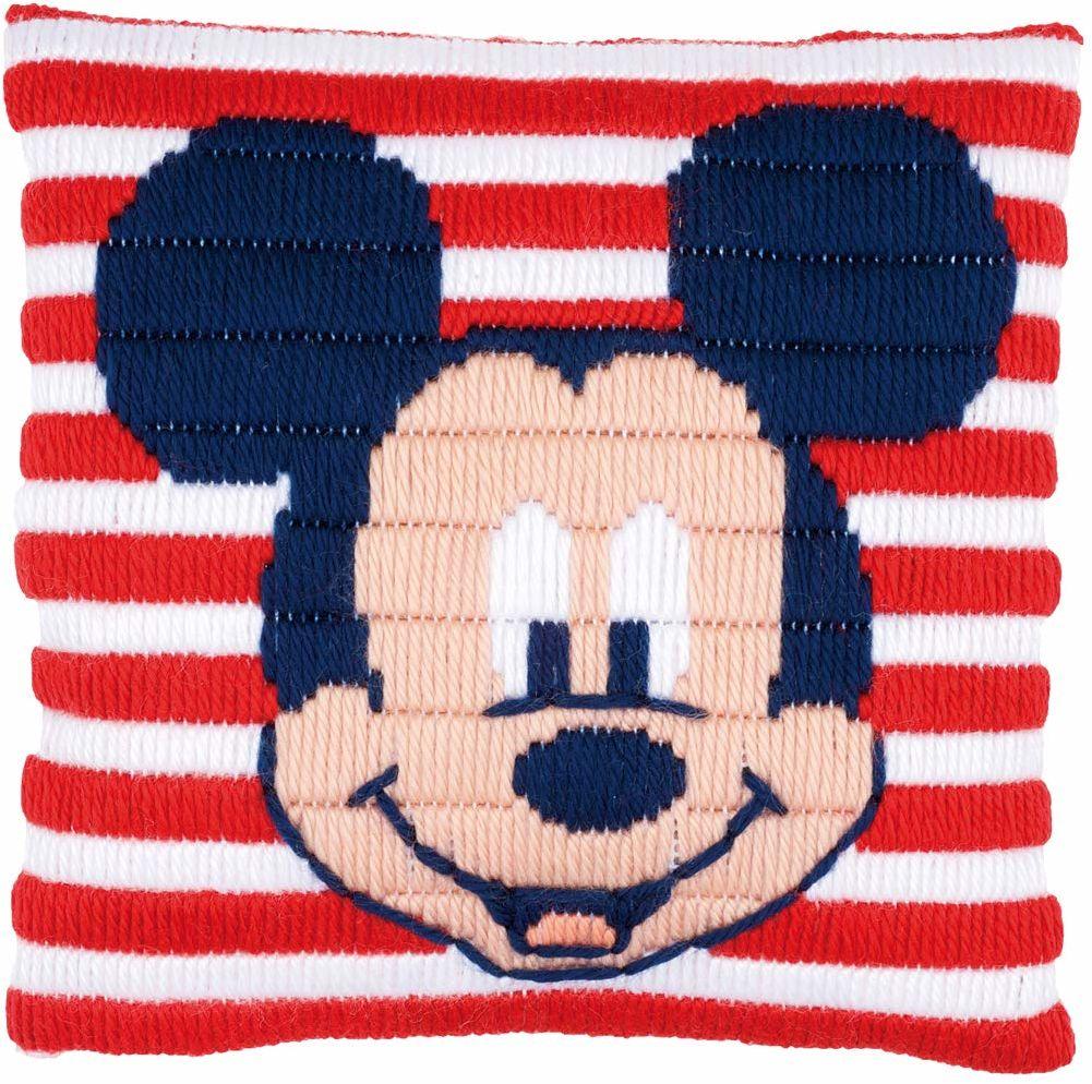 Vervaco poduszka do haftowania Disney Mickey Mouse, obraz do haftowania zaznaczony zestaw ściegów zaciskowych, wstępnie oznaczony, bawełna, wielokolorowa, 25 x 25 x 0,3 cm