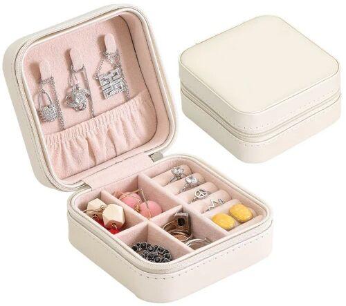 Podróżna mała szkatułka na biżuterię perłowo-biała