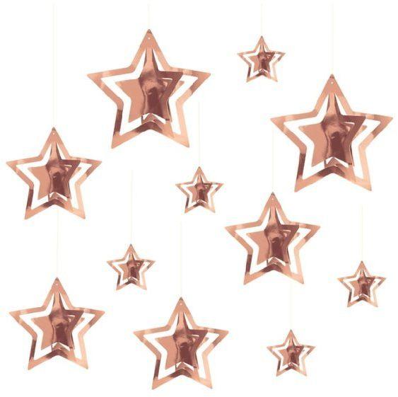 Dekoracja wisząca gwiazdki różowe złoto 3D 15 sztuk 110352