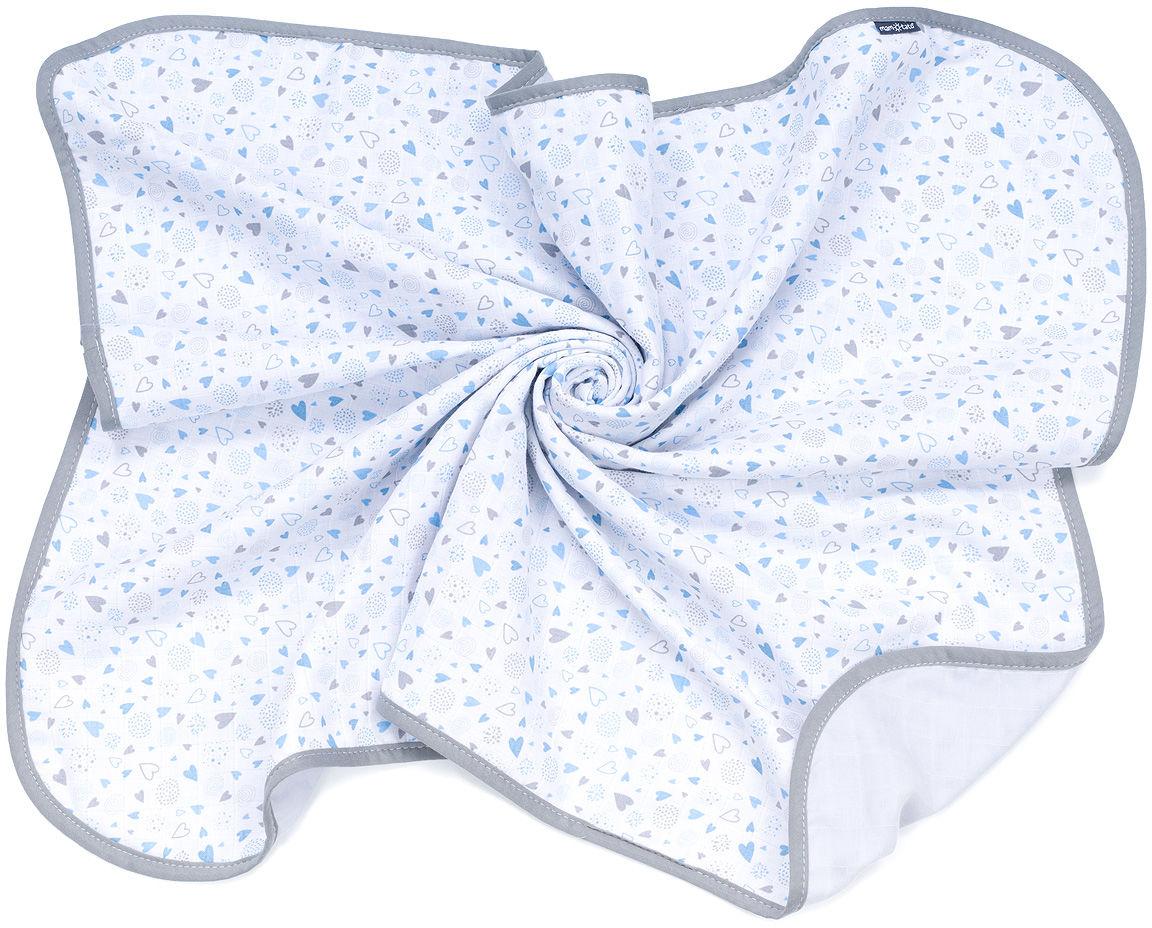 MAMO-TATO Kocyk muślinowy dla dzieci i niemowląt dwuwarstwowy - Serduszka szaro niebieskie / popiel