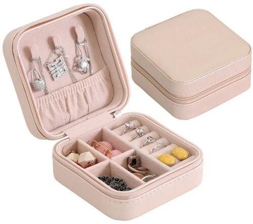 Podróżna mała szkatułka na biżuterię perłowo-różowa