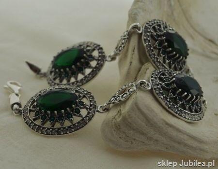Antonina - srebrna bransoleta szmaragdy z kryształ