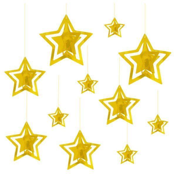 Dekoracja wisząca gwiazdki złote 3D 15 sztuk 110351