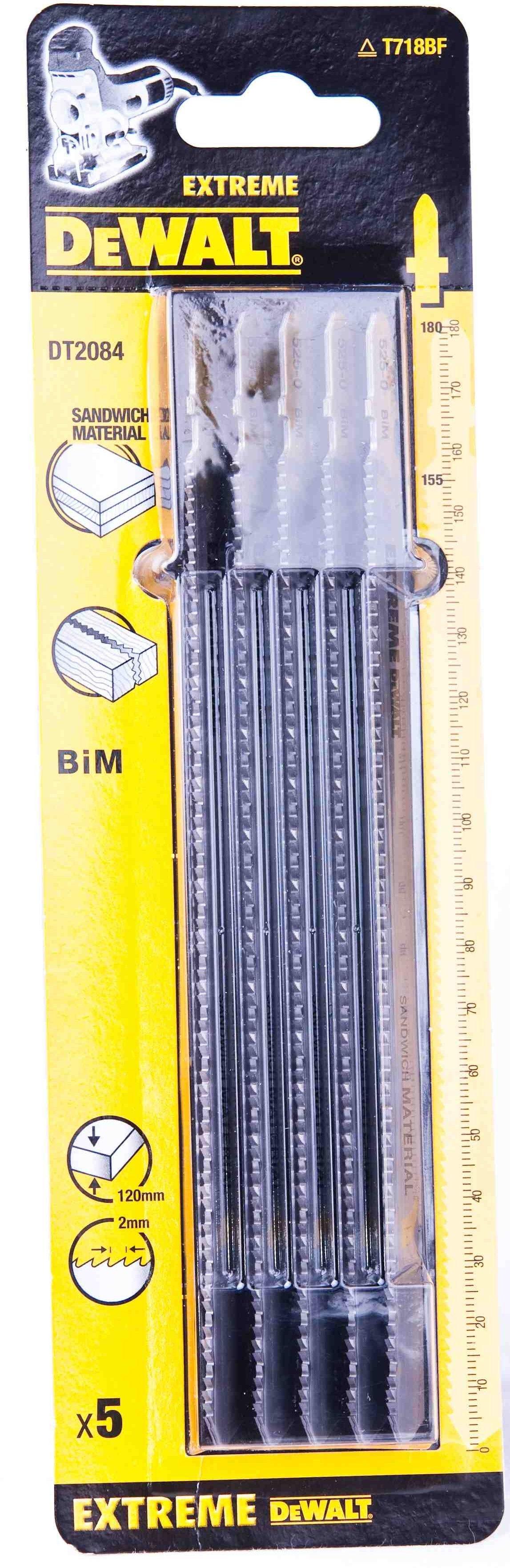 brzeszczoty do wyrzynarki 180mm do cięcia płyt warstwowych, sklejki i metalu, 5 szt. DeWALT [DT2084]
