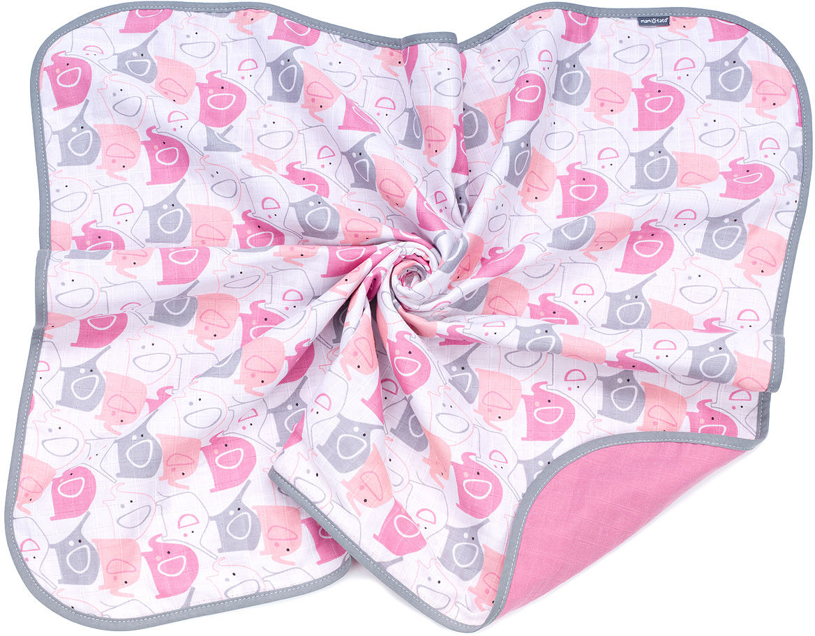 MAMO-TATO Kocyk muślinowy dla dzieci i niemowląt dwuwarstwowy - Słonie różowe / turmalin