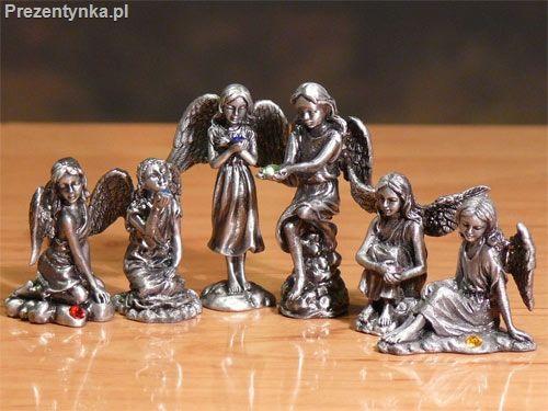 Aniołki cynowe dekoracja świąteczna