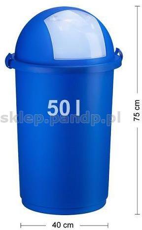 Kosz na śmieci 50L push 5055 niebieski