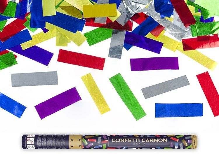 Tuba strzelająca kolorowym metalicznym konfetti 60cm 1szt TUKM60-000