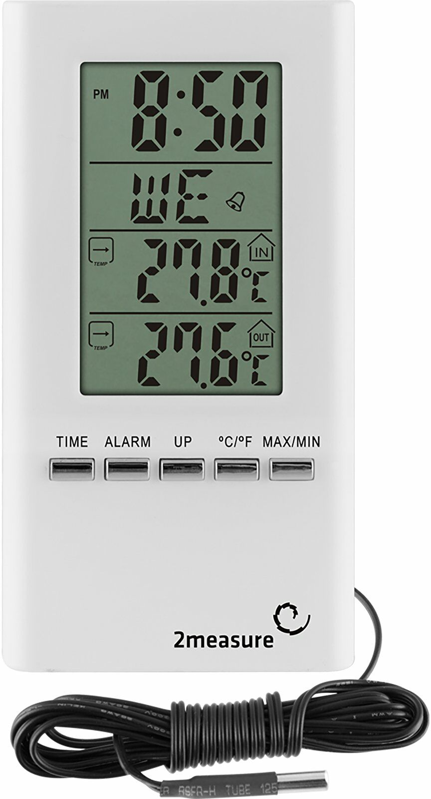 Termometr z zegarem - biały