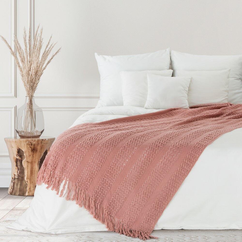 Koc pleciony z frędzlami 130x170 różowy Akryl 1 Mila Line akrylowy narzuta na łóżko Eurofirany