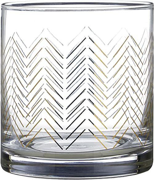 Premier Housewares Szklanki szklanki Martini kieliszki koktajlowe złote 9 x 9 x 9 cm szklanki do wody zestaw 4 szt.