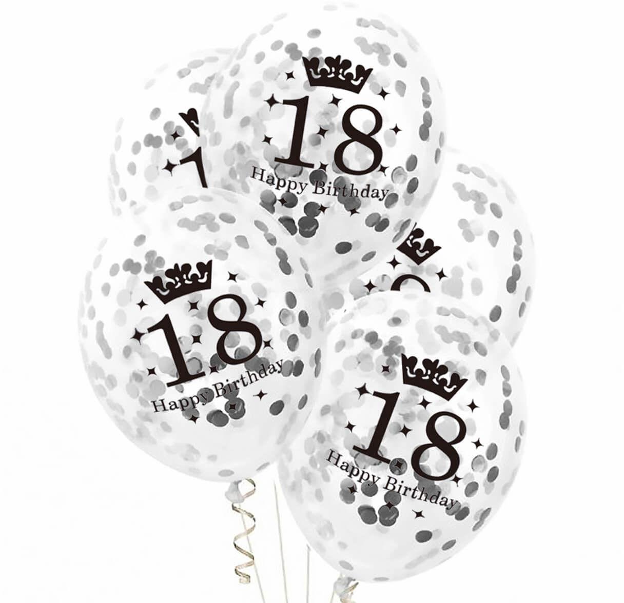 Balony przezroczyste ze srebrnym konfetti na osiemnastkę - 30 cm - 5 szt