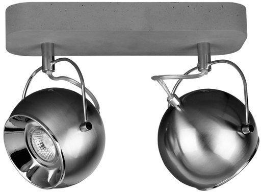 Lampa sufitowa 2-punktowa BALL CONCRETE szara betonowa podstawa z satynowymi kloszami 5131236