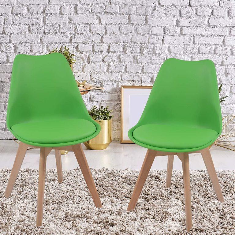 Zestaw krzeseł do jadalni z plastikowym siedziskiem, 2 szt.,