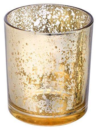 CLUB zielony szklany świecznik, złoty, 70 x 80 mm