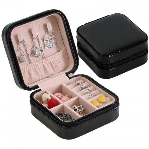 Podróżna mała szkatułka na biżuterię czarna