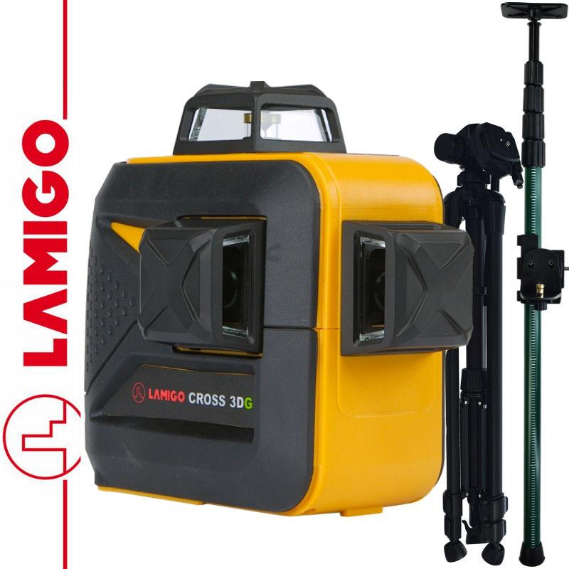 Laser krzyżowy CROSS 3DG LAMIGO + Statyw 1,4m + Tyczka 3,2m
