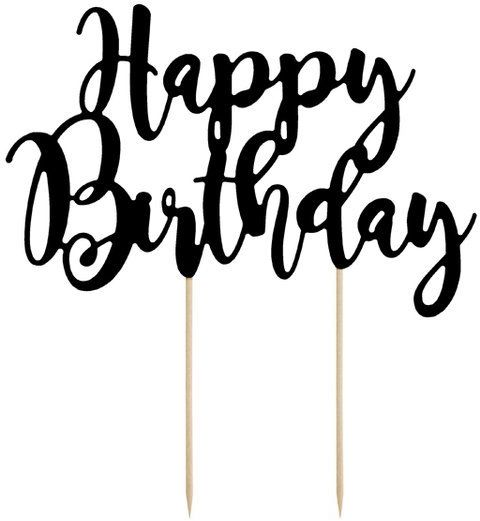 Topper na tort Happy Birthday czarny 22,5cm KPT11-010
