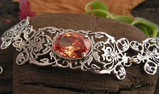 Atenea - srebrna bransoletka z topazem złocistym