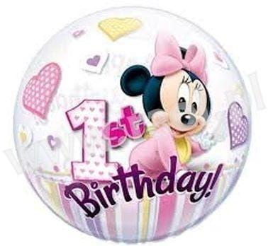 """Balon foliowy """"Minnie Mouse na 1 urodziny"""" 22"""""""