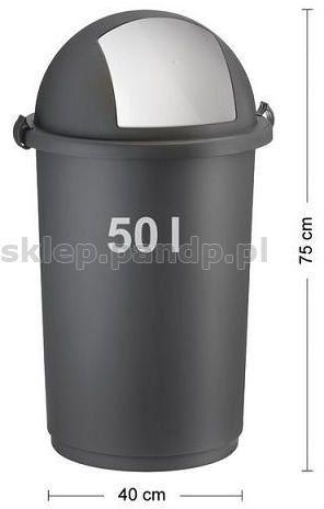 Kosz na śmieci 50L push 5055 szary