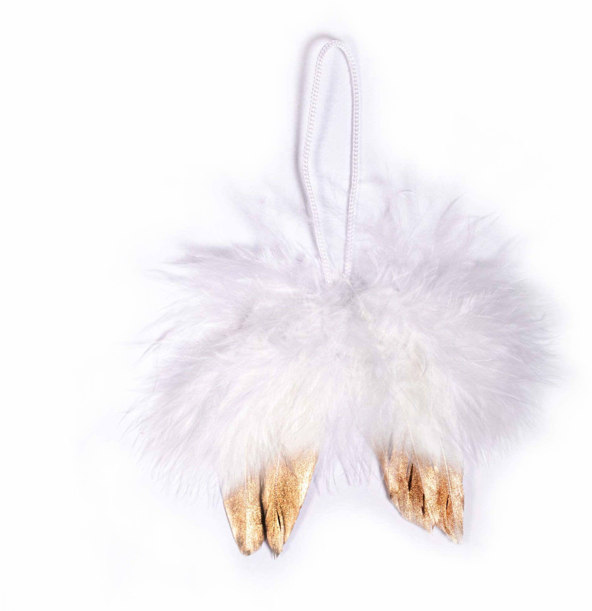 Rayher 85483102 skrzydła anioła z pióra, białe/złoto, 5 cm, 2 sztuki, do zawieszenia, zawieszki na Boże Narodzenie, ozdoby choinkowe, skrzydła pióra anioła