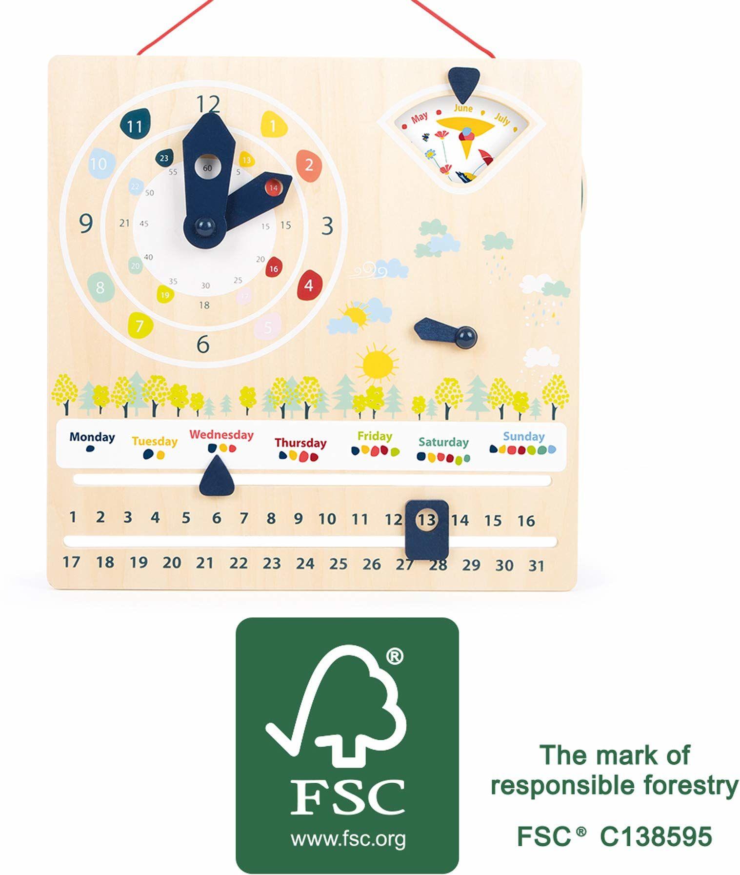 small foot 11625 Educate tablica edukacyjna z drewna certyfikowanego przez FSC do nauki godziny, pogody, dni tygodnia i wielu innych osób, od 3 zabawek
