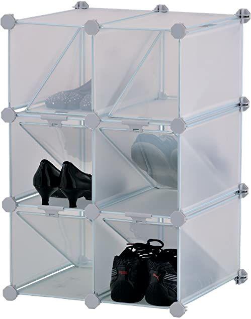 Mondex INX405-00 regał na buty, modułowy, z 6 półkami, tworzywo sztuczne, biały, 37,5 x 42 x 61,5 cm