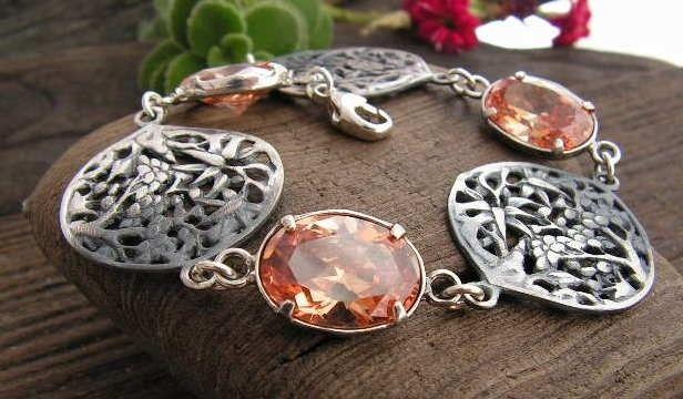 Lanzi - srebrna bransoletka z topazem złocistym