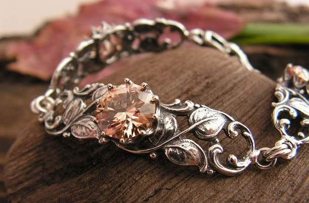 Zafira - srebrna bransoletka z topazem złocistym