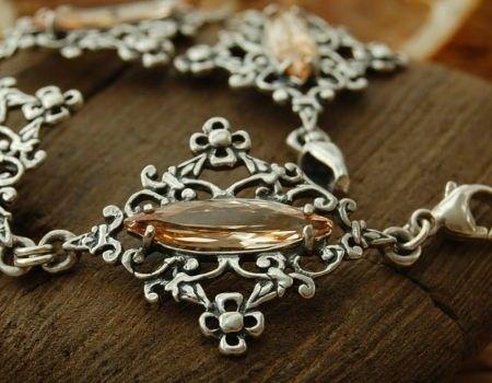 Junga - srebrna bransoletka z topazem złocistym