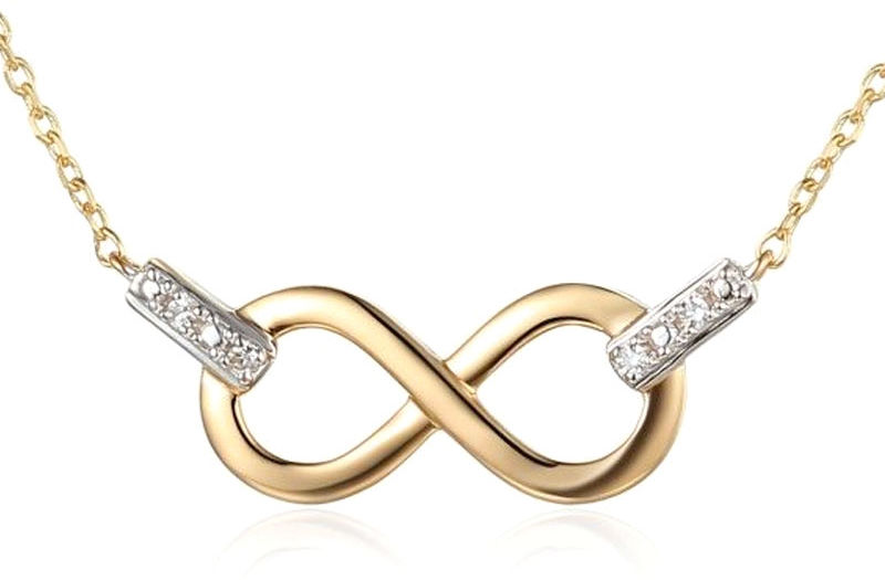 Złoty naszyjnik 585 nieskończoność z diamentami brylanty