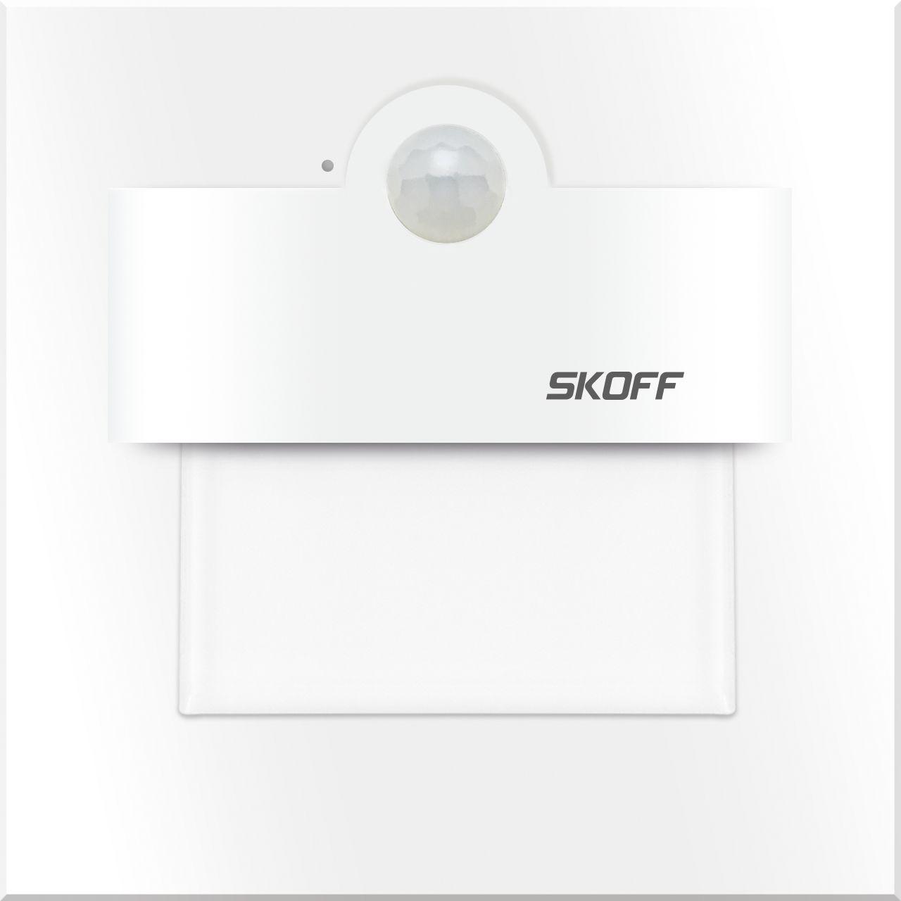 Oprawa schodowa Tango Skoff kwadratowa oprawa w kolorze białym z czujnikiem ruchu i zmierzchu