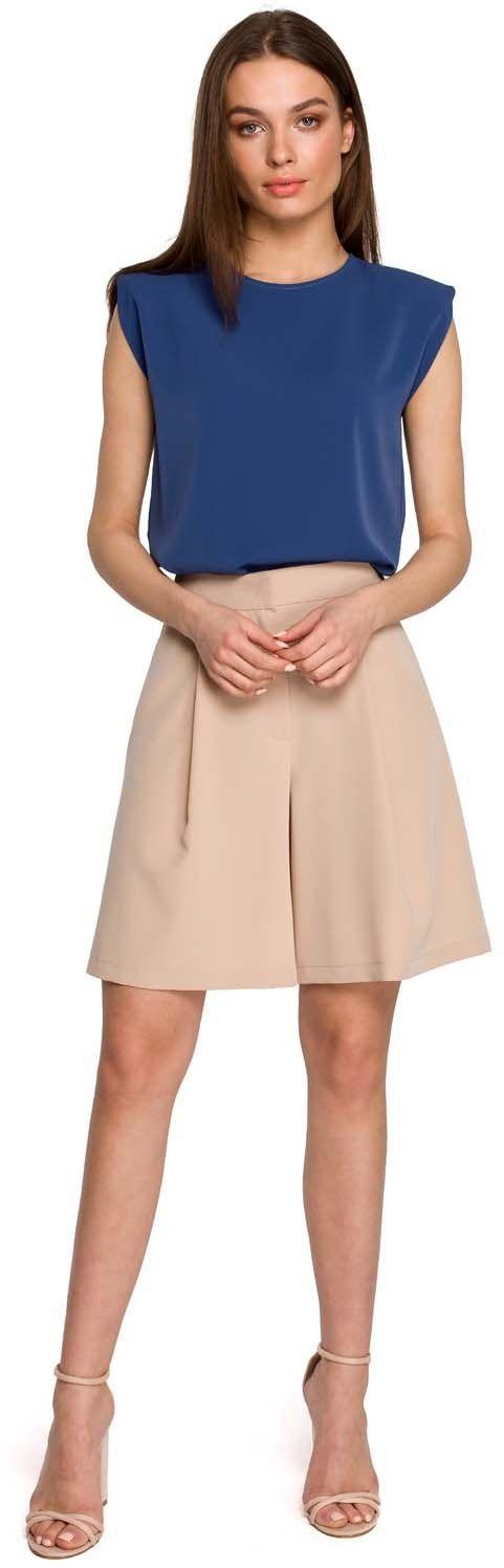 Krótkie spodnie z szerokimi nogawkami - beżowe