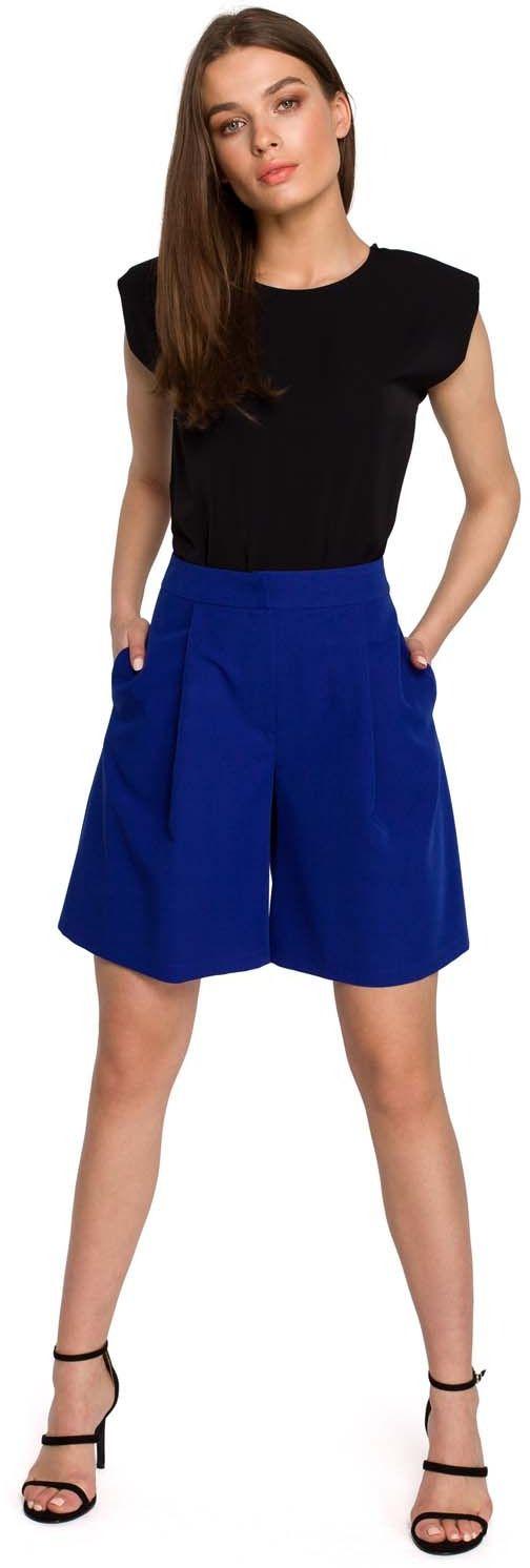 Krótkie spodnie z szerokimi nogawkami - chabrowe