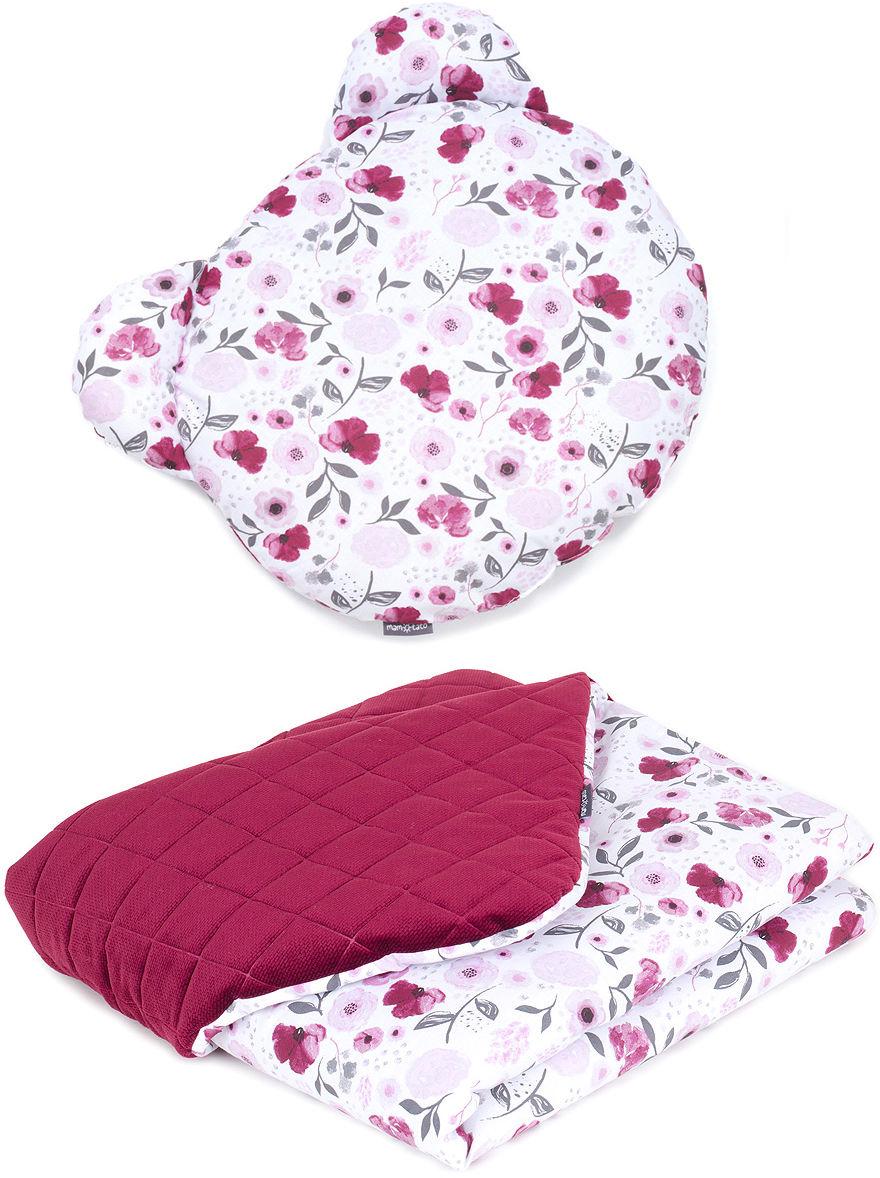 MAMO-TATO Kocyk dla niemowląt z poduszką MIŚ - Bratki / bordo