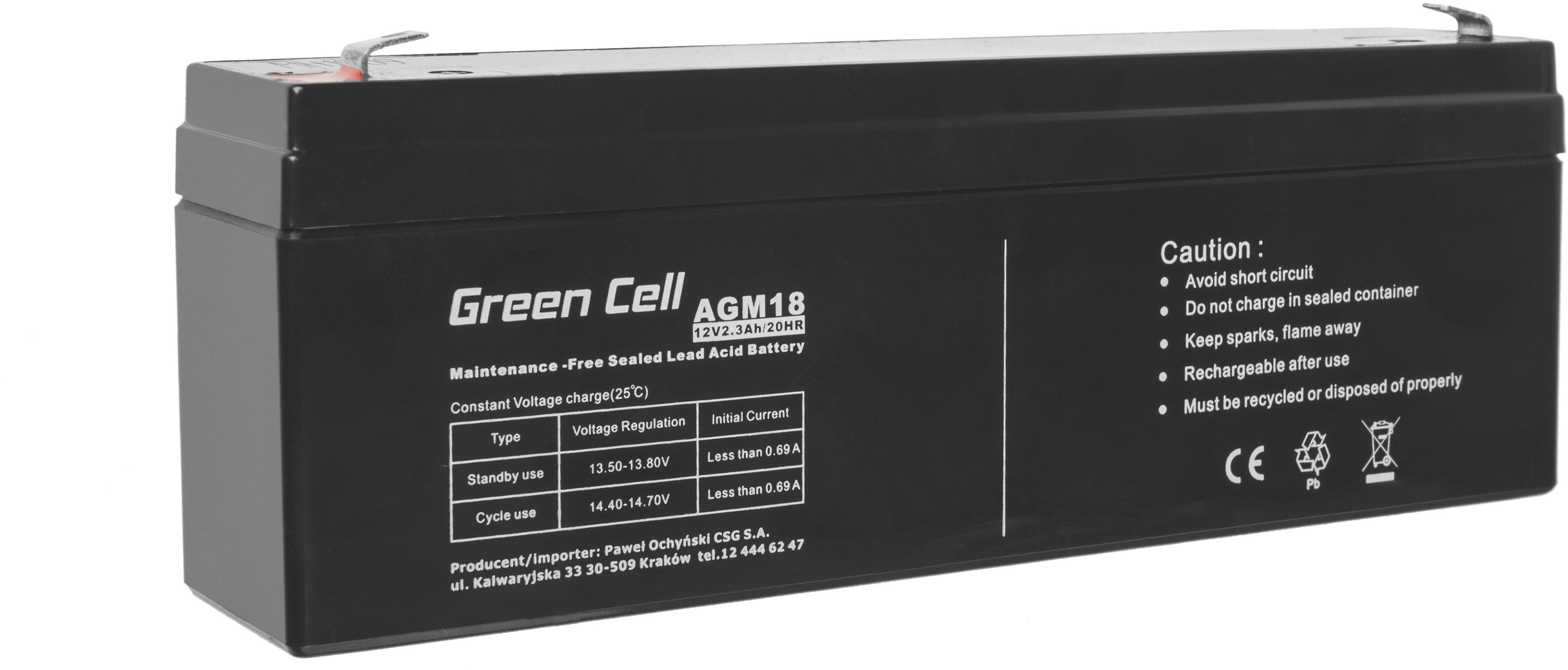Green Cell AGM VRLA 12V 2.3Ah bezobsługowy akumulator do systemu alarmowego kasy fiskalnej zabawki