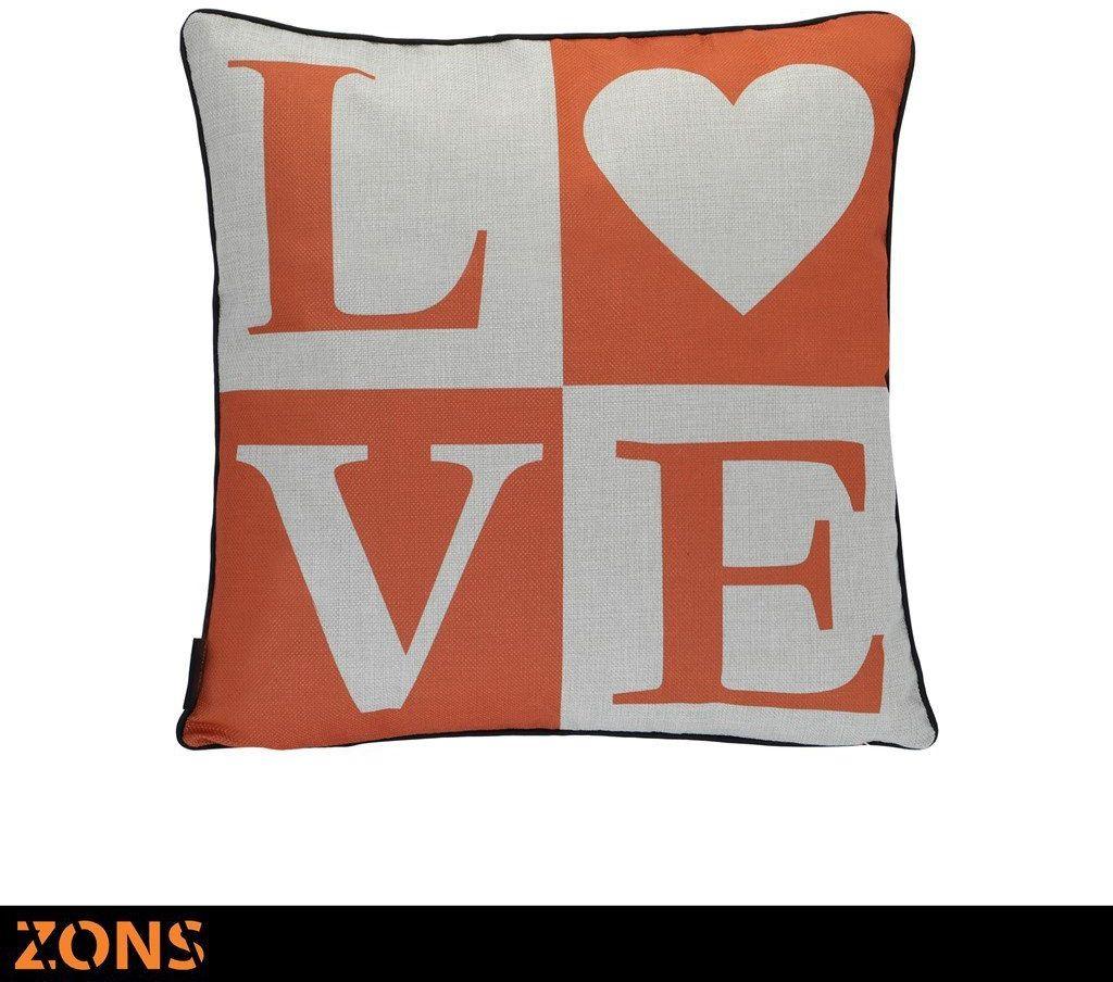 Napis Poduszka pomarańczowa 6 wzorów 45 x 45 cm + wypełnienie 450 g (Love)