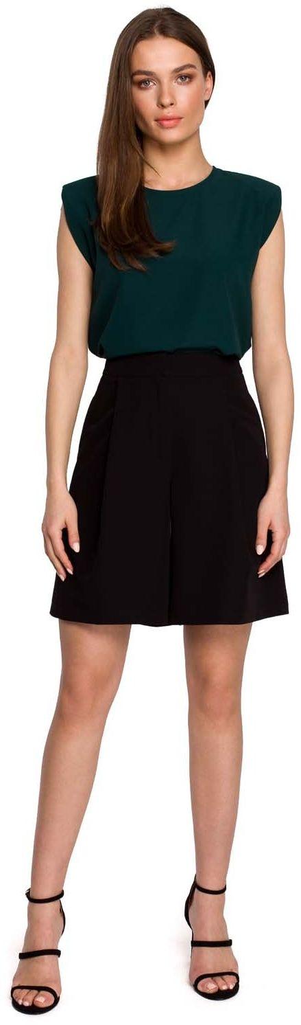 Krótkie spodnie z szerokimi nogawkami - czarne
