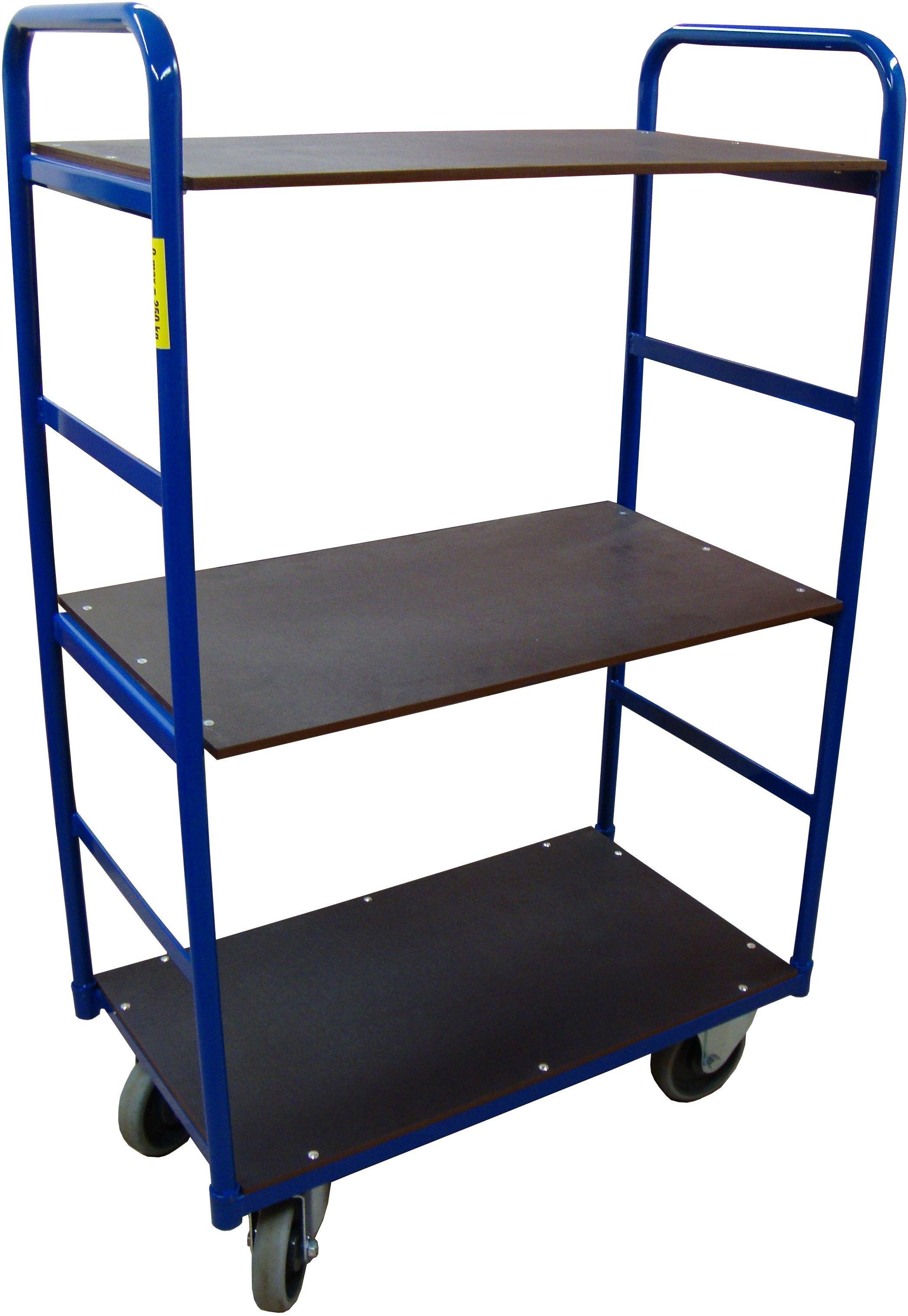 Wózek magazynowy trzypółkowy 250 kg, 850x500x1500 mm