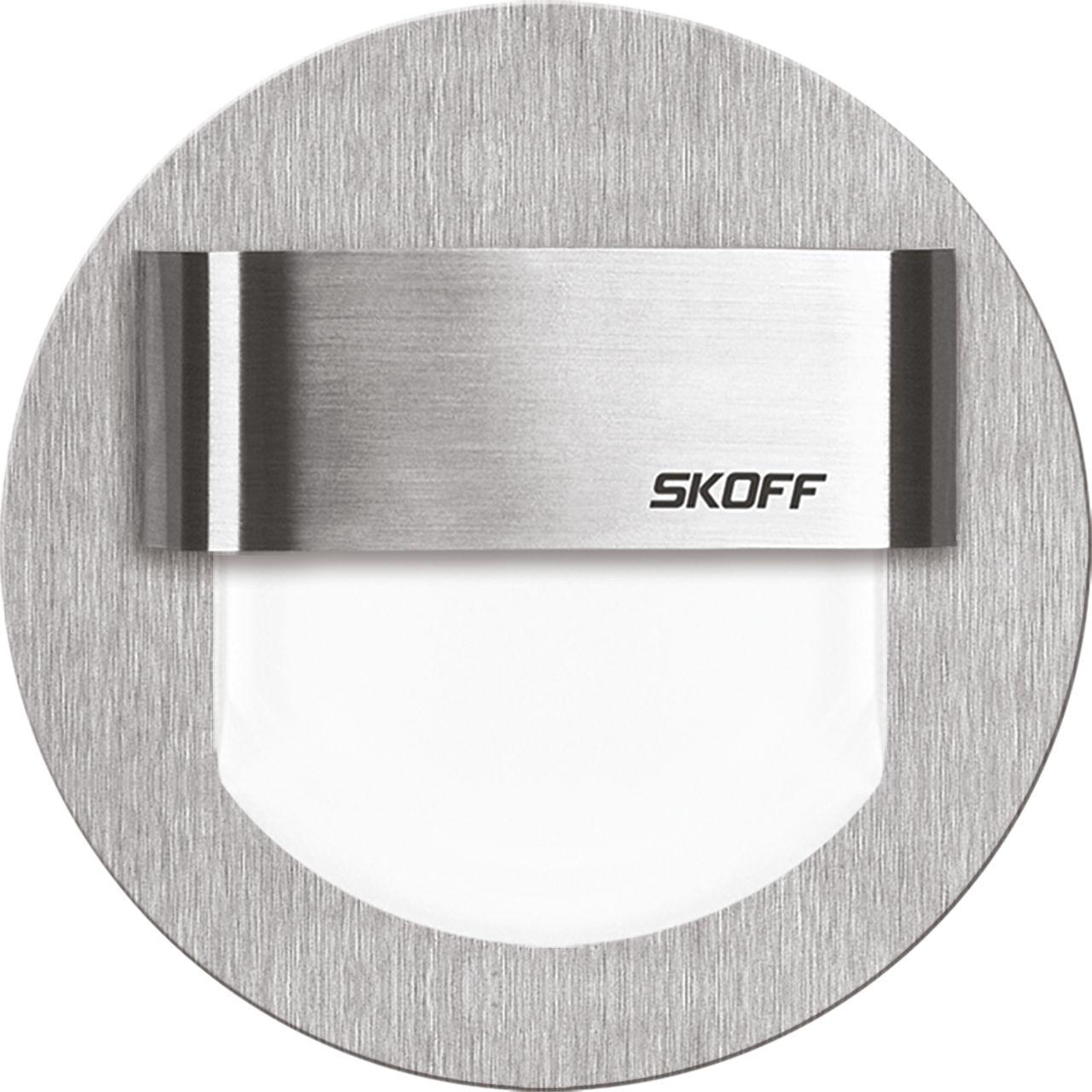 Oprawa schodowa Rueda Skoff okrągła oprawa w kolorze szczotkowane aluminium