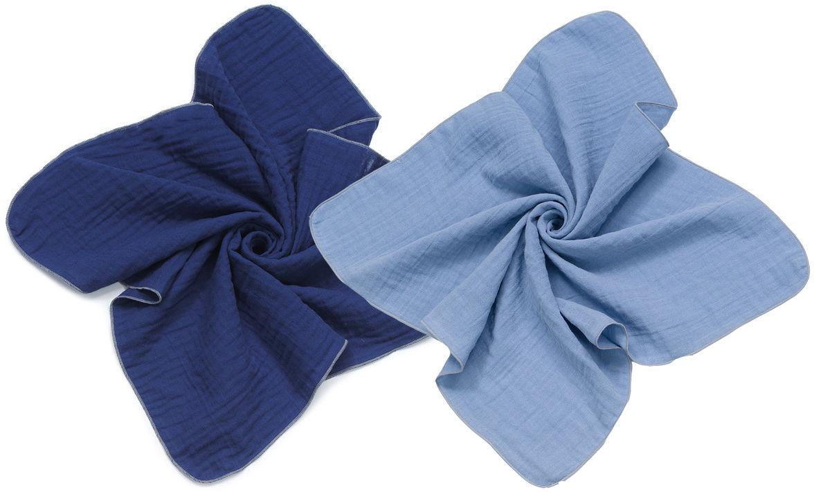 MAMO-TATO Pieluszki muślinowe Double Gauze dla niemowląt 2szt 60x60 - Granatowy / Jeans
