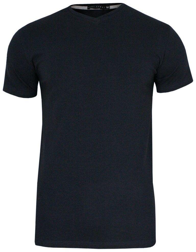 Granatowy Jednokolorowy T-shirt Męski, Krótki Rękaw -Just Yuppi- Koszulka, BASIC, w Serek, V-neck TSJTYUP6232kol3granatV