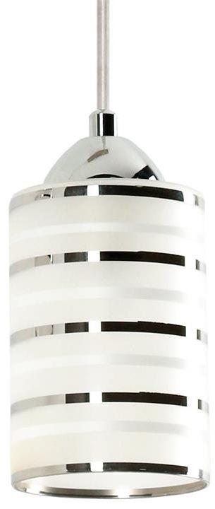 Lampex Cloe 1 551/1 lampa wisząca nowoczesna klosz podłużny szklany srebrna oprawa E27 1 40W 10cm