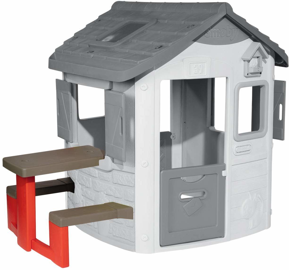 Smoby 810902  stół piknikowy do domków do zabawy Smoby  akcesoria do domku zabaw, ławka do siedzenia ze stołem, pasuje do większości domków do zabawy Smoby