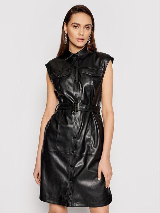 KARL LAGERFELD Sukienka z imitacji skóry Faux 211W1308 Czarny Regular Fit